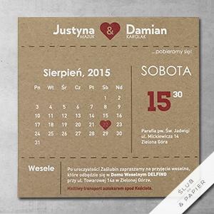 Zaproszenie Kartka Z Kalendarza ślub Papier