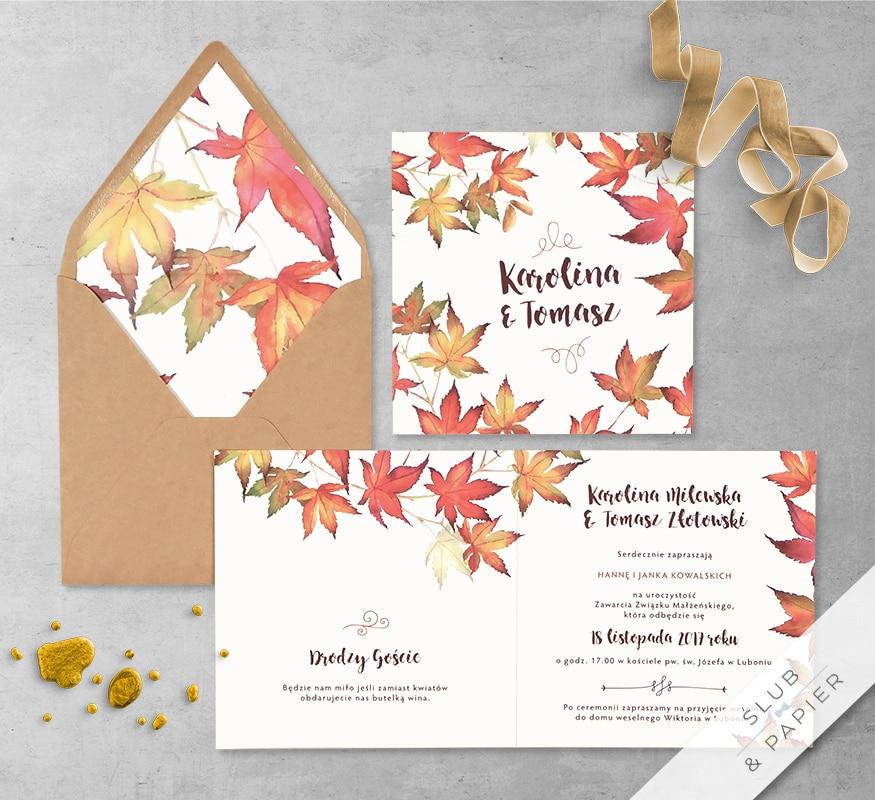 Jesienny klon z wklejką i kopertą
