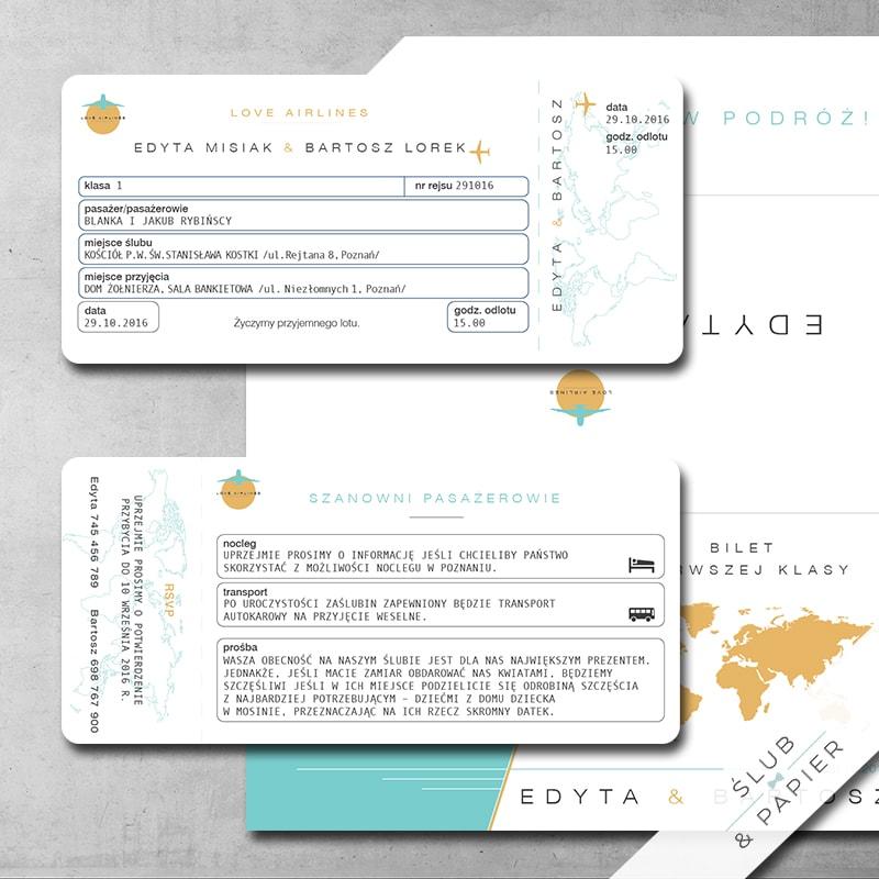 Zaproszenie Bilet Lotniczy ślub Papier
