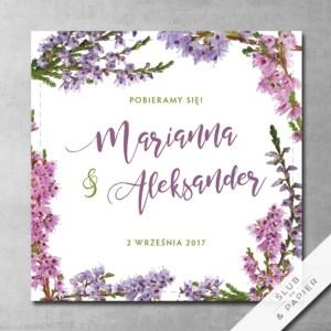 Zaproszenie ślubne Kwitnące wrzosy