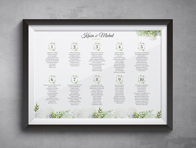 Plan stołów Kwiaty Kaliny