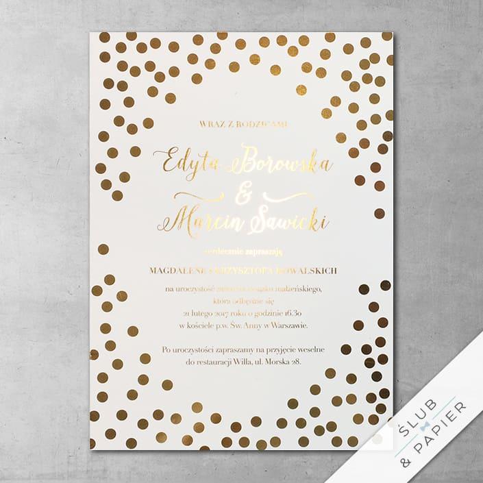 Zaproszenie ślubne Złote plamki