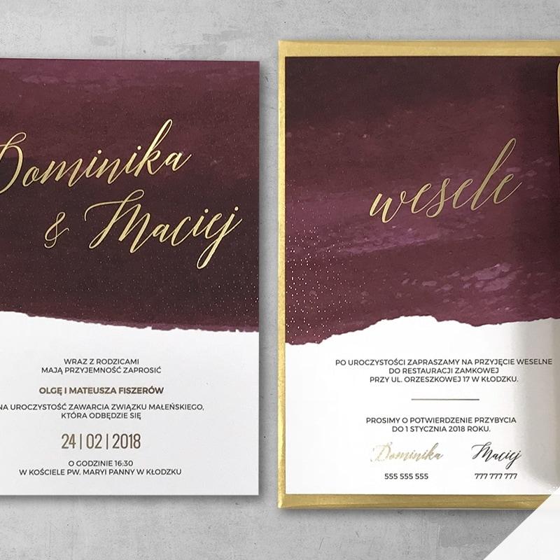Zaproszenie ślubne akwarela burgund ze złoceniem