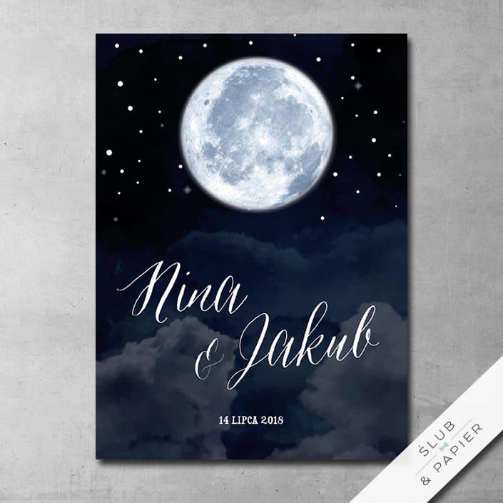 Zaproszenie ślubne Księżyc nocą