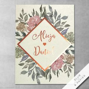 Zaproszenie ślubne Kwiaty i miedź