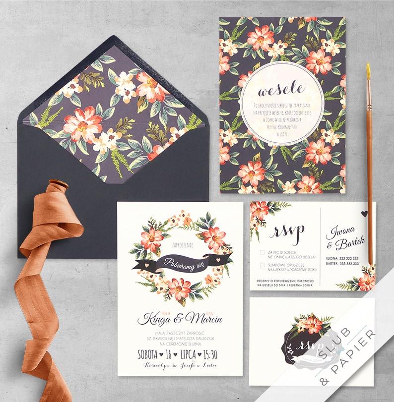 Kwiaty malowane z wklejką i kopertą