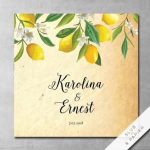 Zaproszenie ślubne Cytryny