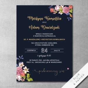 Zaproszenie ślubne Kwiaty na granacie
