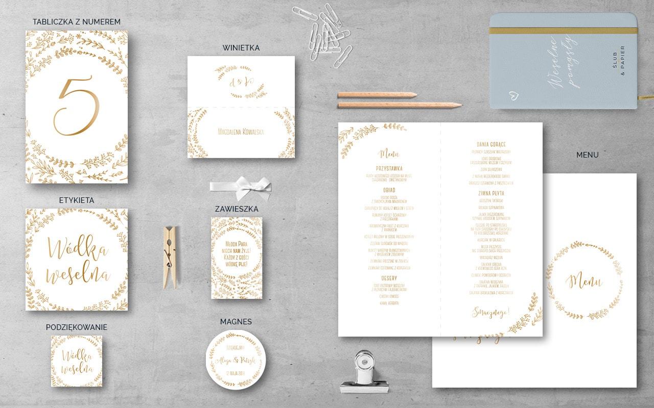 Złote Ornamenty Dodatki ślub Papier