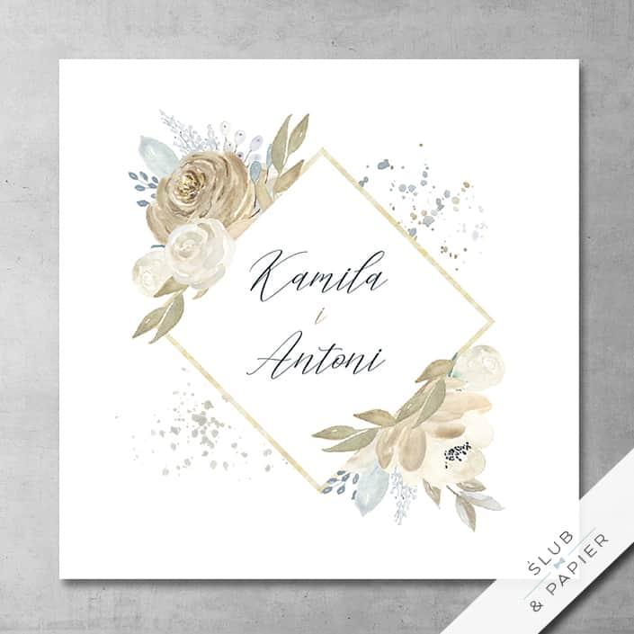 Zaproszenia ślubne Malowane róże
