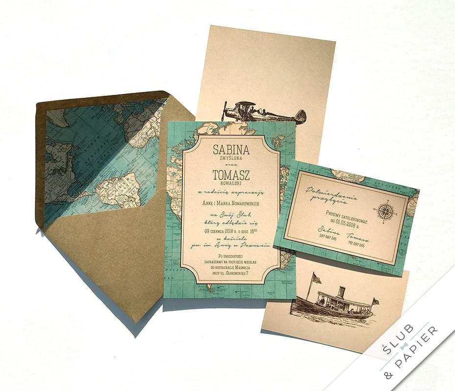 Zaproszenie Podróż Vintage ślub Papier