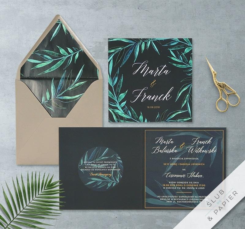 Palmy z wklejką i kopertą