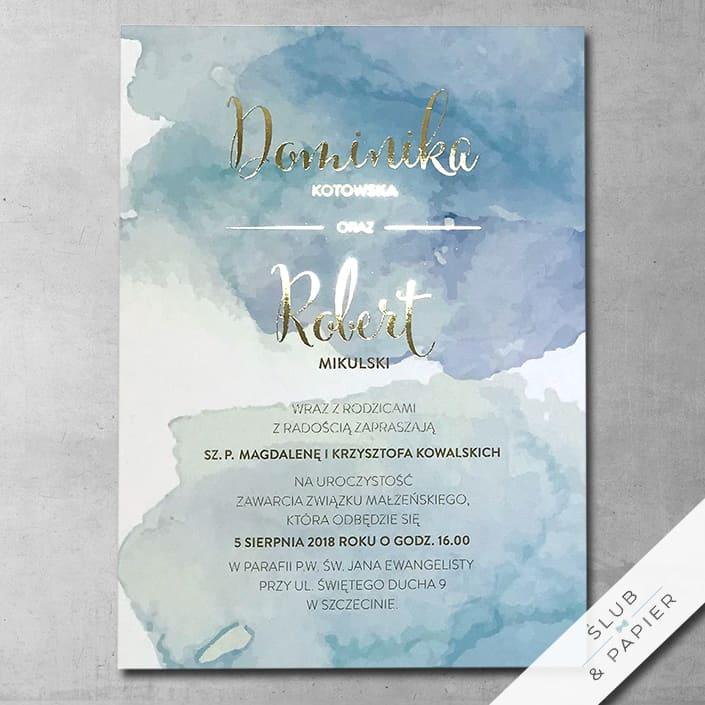Zaproszenia ślubne Złota akwarela