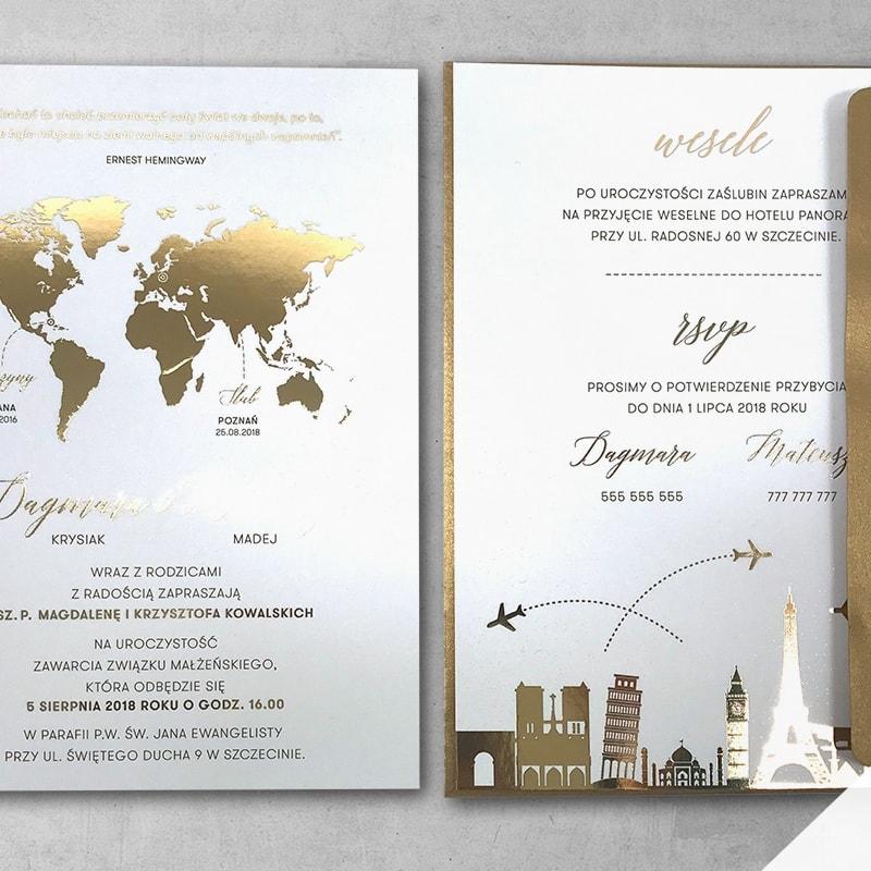 Zaproszenie ślubne złota podróż