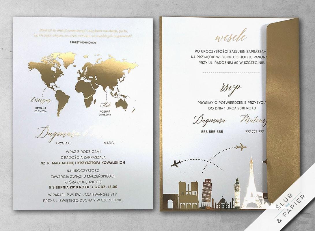 Zaproszenia Złota Podróż ślub Papier