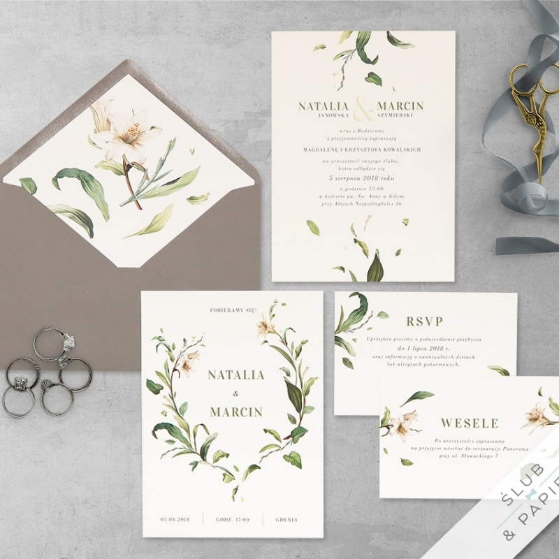 Zaproszenie ślubne dzikie lilie motyw botaniczny