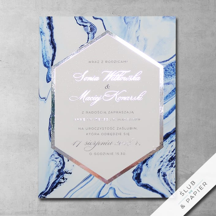 Zaproszenia ślubne Srebrny marmur