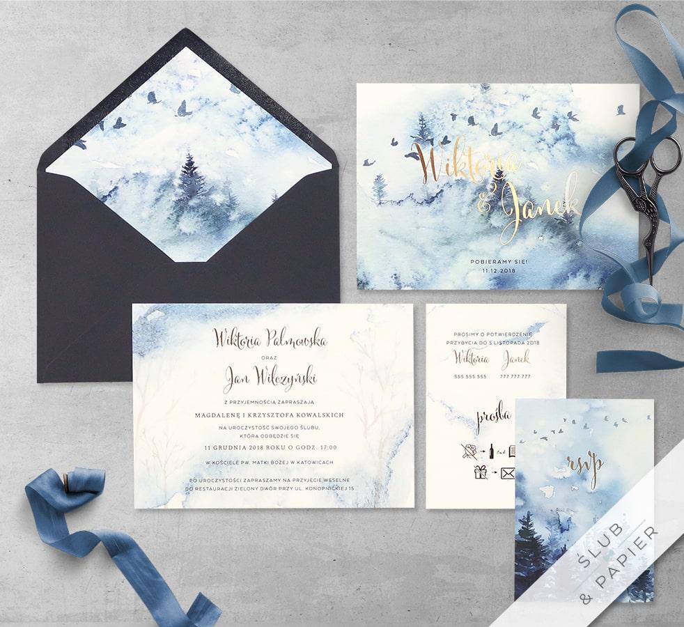 Zimowy pejzaż z wklejką i kopertą