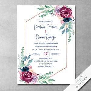 Zaproszenia ślubne Rubin i granat