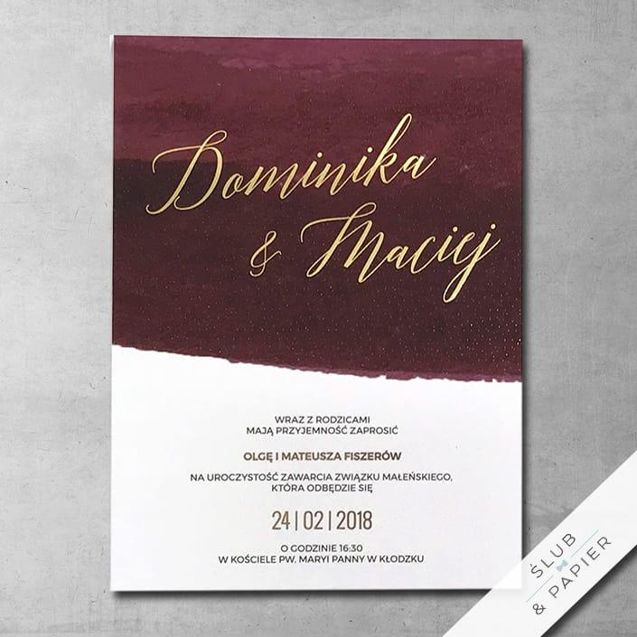 Zaproszenia ślubne Burgund