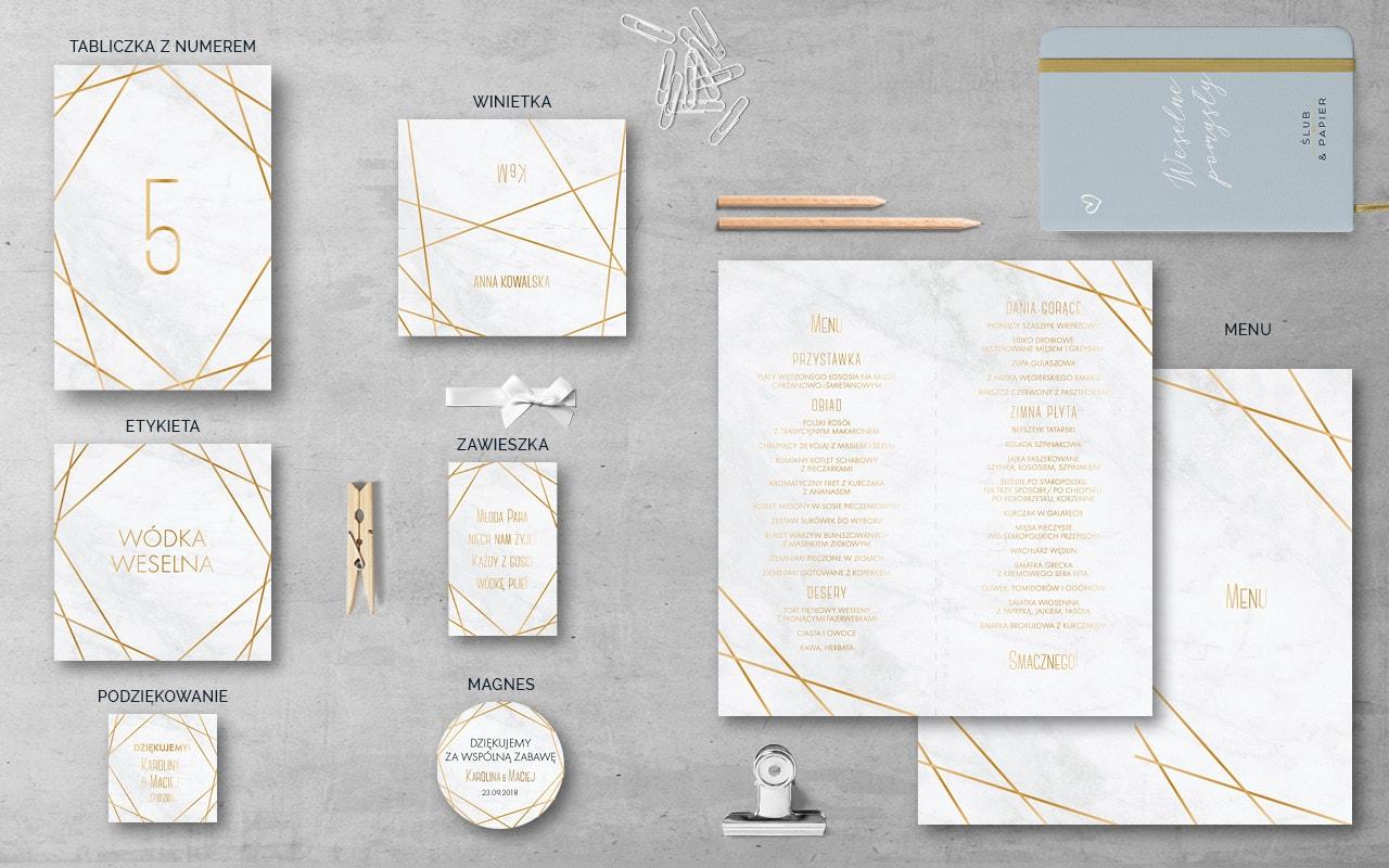 Zaproszenie Złoty Marmur ślub Papier