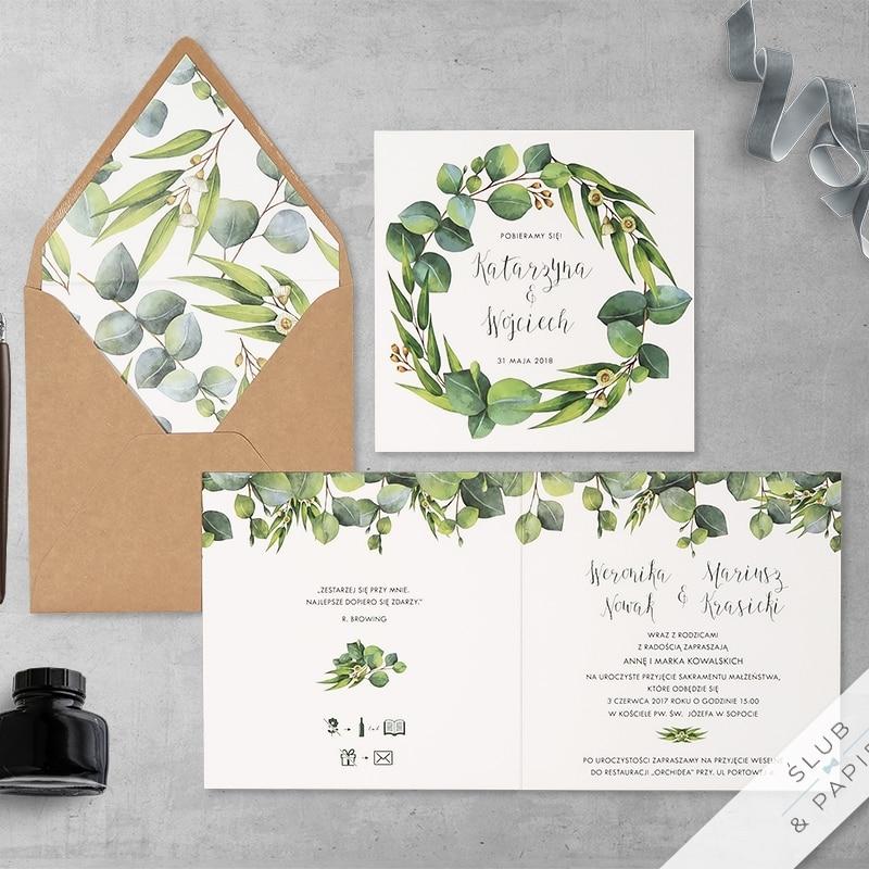 Eukaliptus z wklejką zaproszenia ślubne