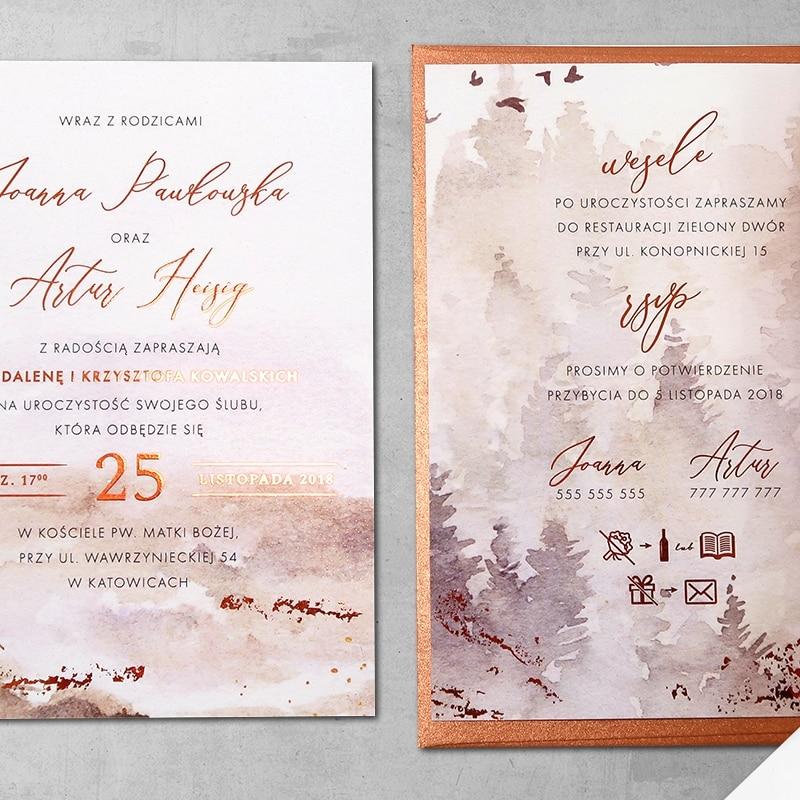 Zaproszenie ślubne miedziana jesień