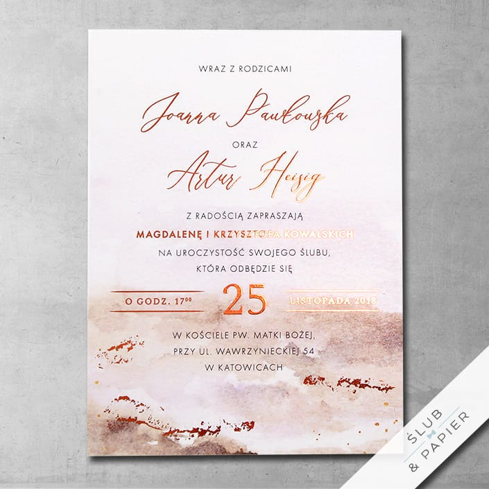 Zaproszenia ślubne Miedziana jesień