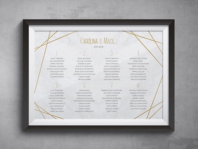 Złoty marmur plan stołów