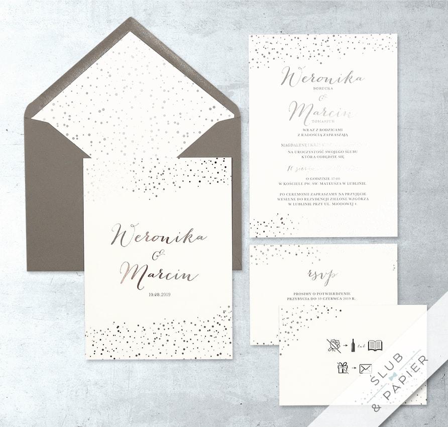 Zaproszenie ślubne z folią srebrną kropki minimalistyczne