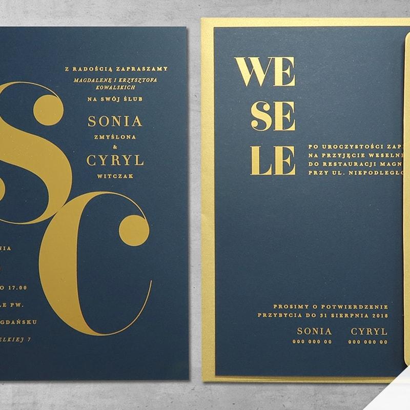 Zaproszenie ślubne minimalistyczne ze złotem Inicjały