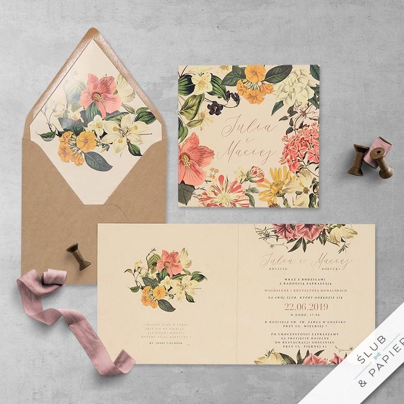 Zaproszenia ślubne kwiaty vintage