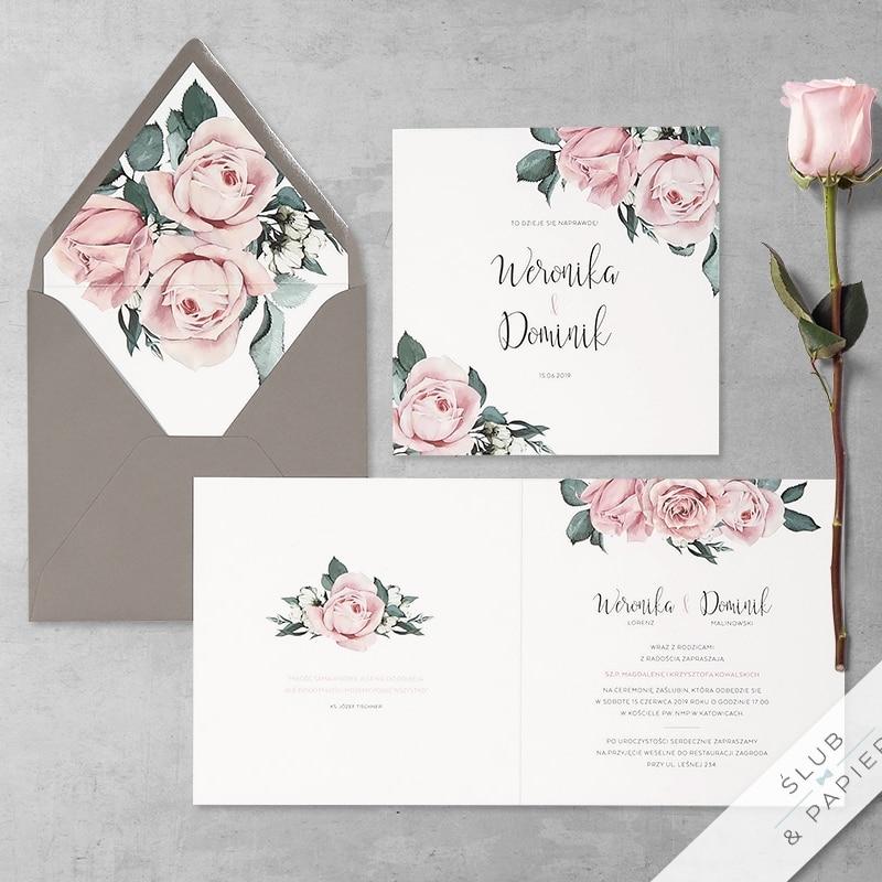 Pudrowe róże z wklejką