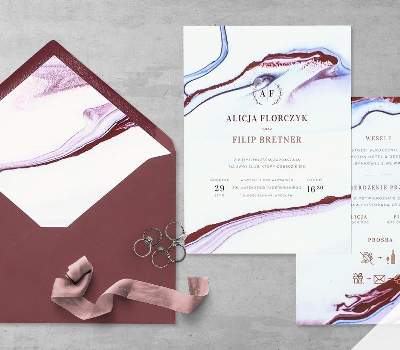 Zaproszenie ślubne rubinowy marmur z folią