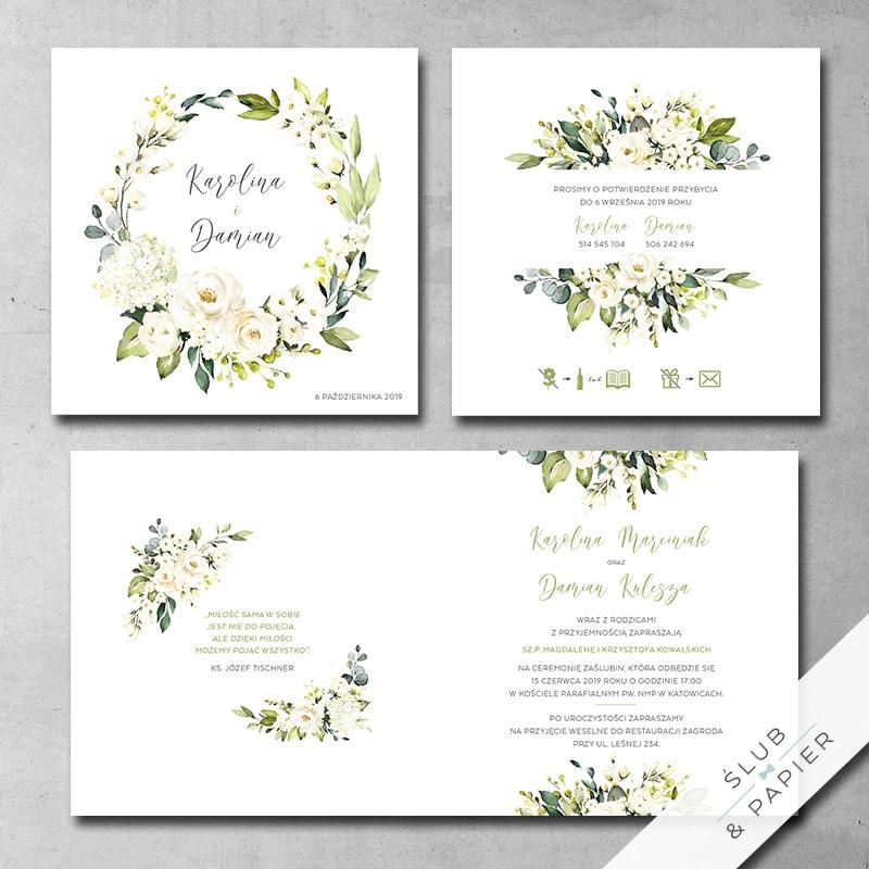 Zaproszenie ślubne Białe róże