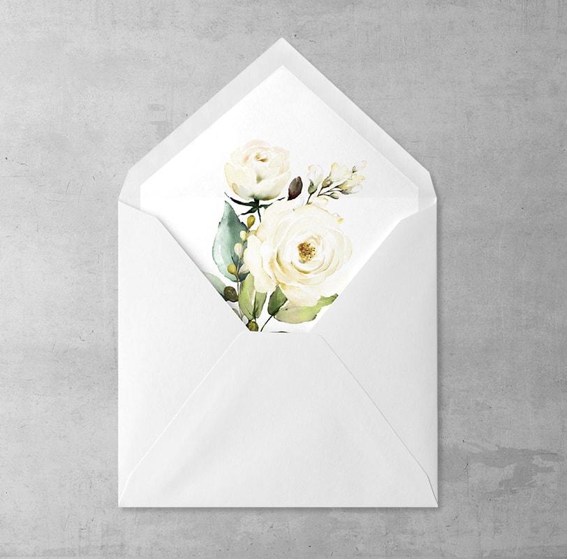 Wklejka do kopert Białe Róże