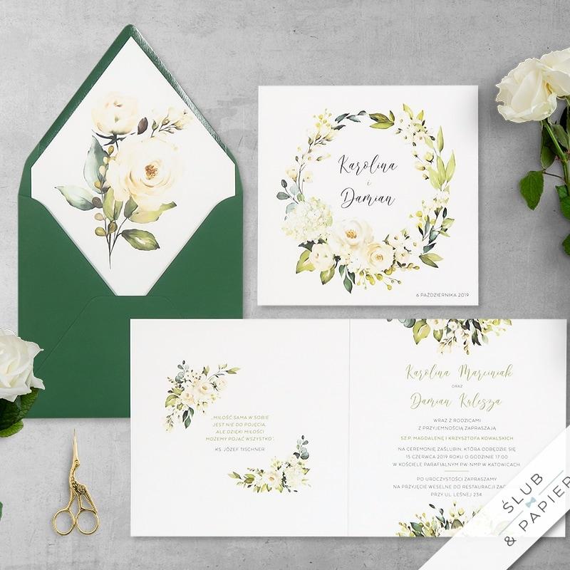 Zaproszenia ślubne Białe róże