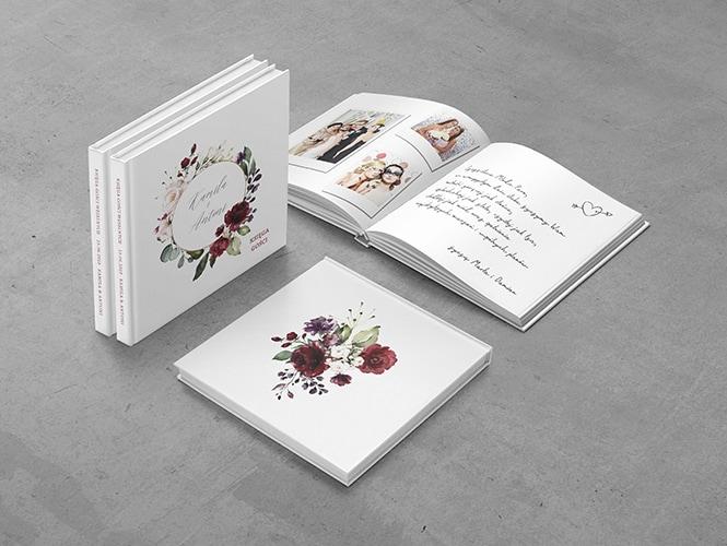 Księga gości Bordowe kwiaty
