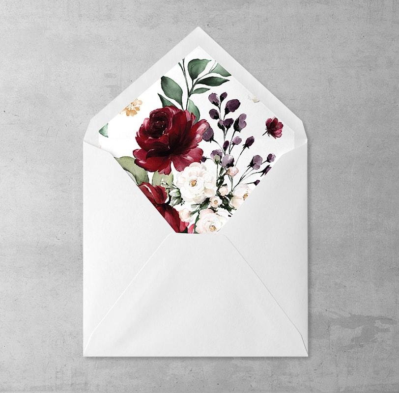 Wklejka do kopert Bordowe kwiaty