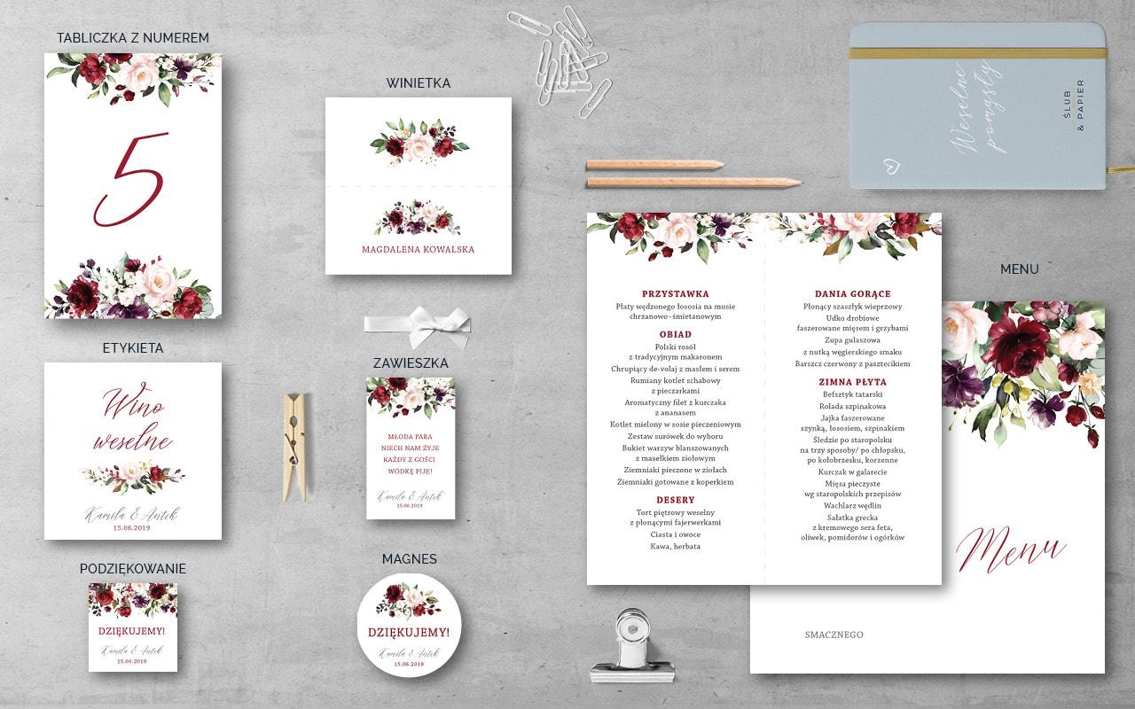 Dodatki wesele Bordowe kwiaty