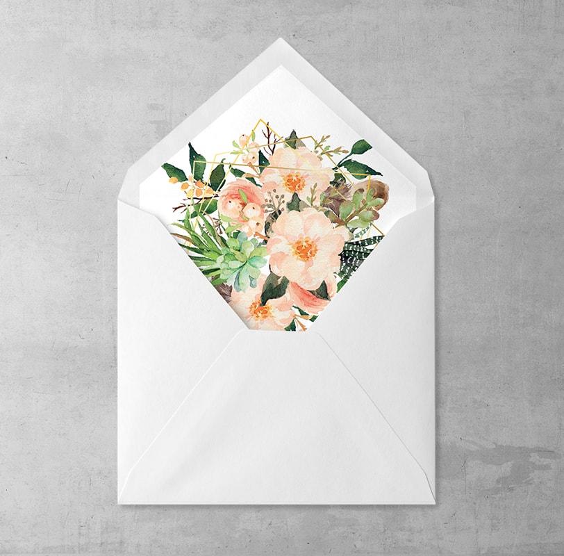 Kwiaty i piórka wklejka do kopert