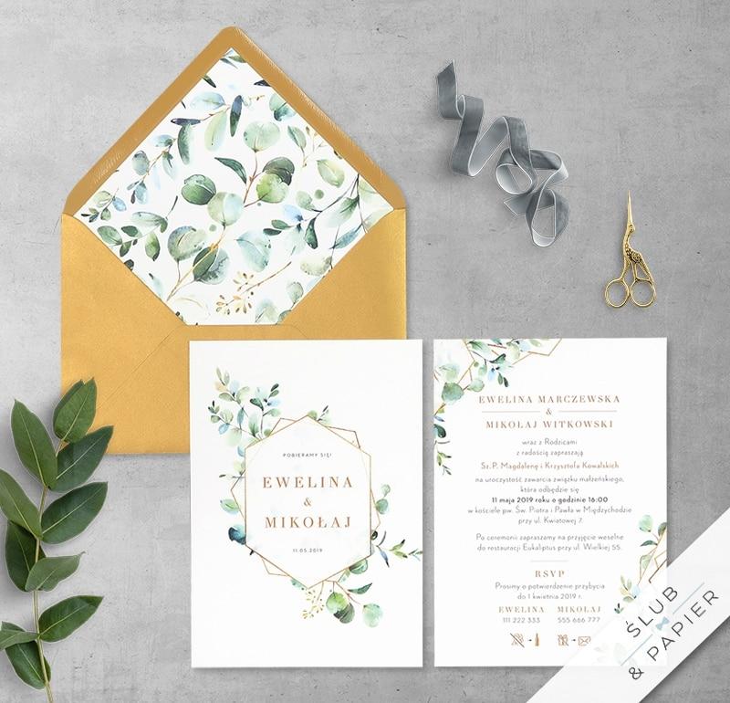 Zaproszenie ślubne eukaliptus motyw geometryczny botaniczny
