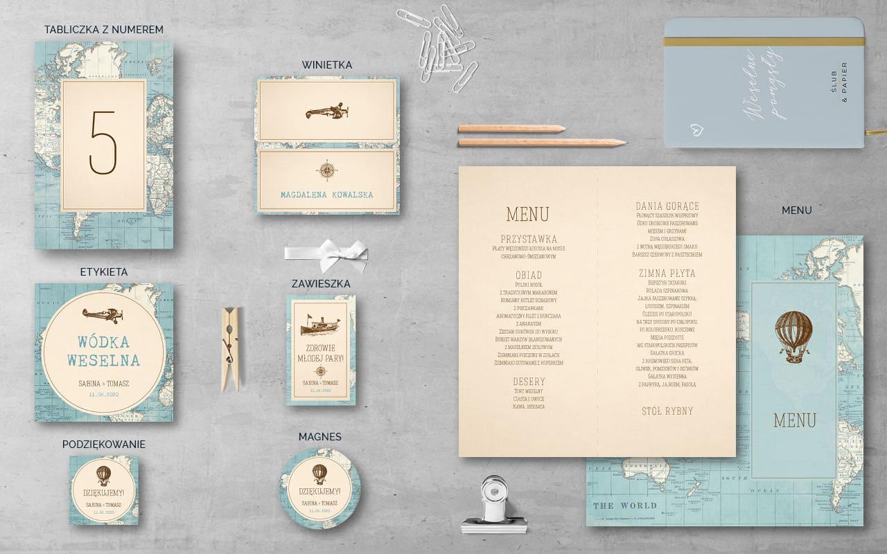 Dodatki weselne Podróż vintage