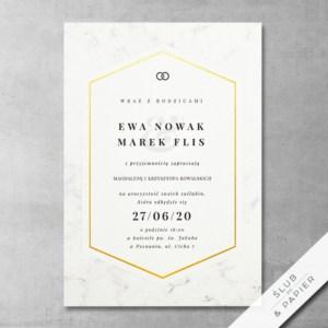 Minimalistyczny marmur - zaproszenia ślubne