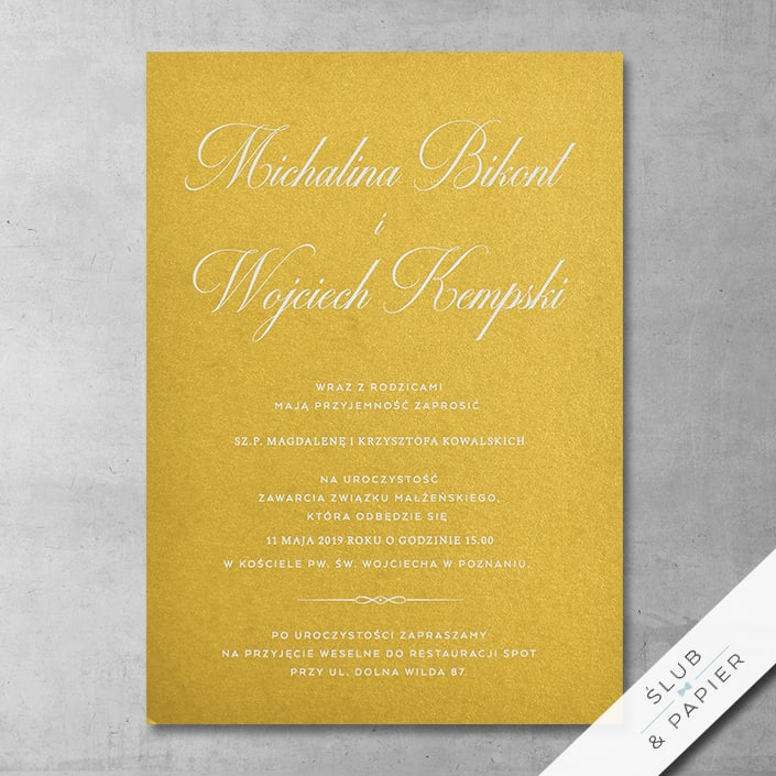 Zaproszenie ślubne Biel i złoto - zdjęcie poglądowe