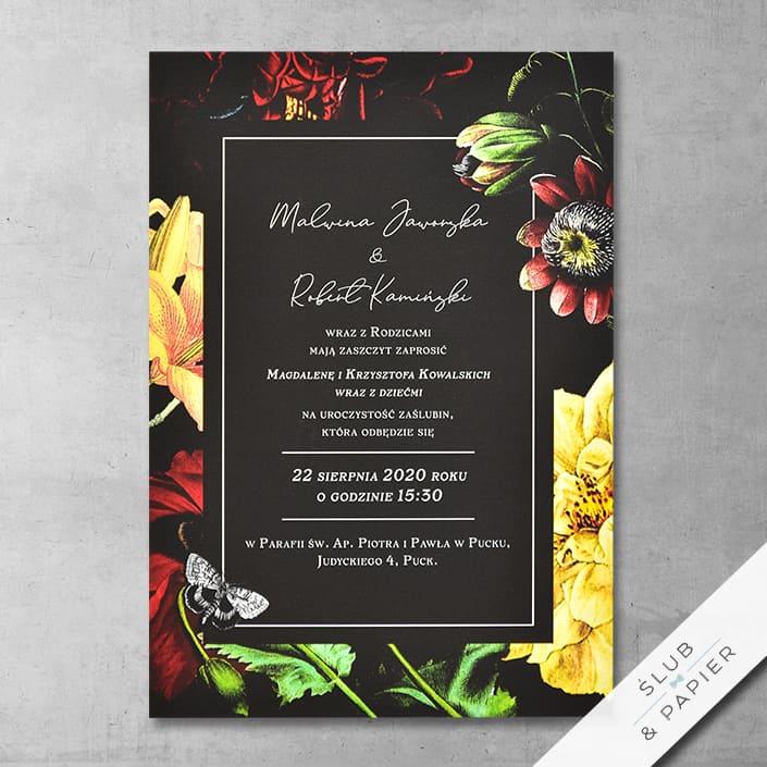 Szykowne kwiaty - zaproszenia ślubne