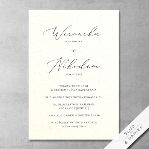 Zaproszenie 艣lubne Minimalistyczne - zdj臋cie pogl膮dowe