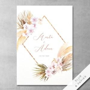 Suszone kwiaty - zaproszenie ślubne - zdjęcie poglądowe