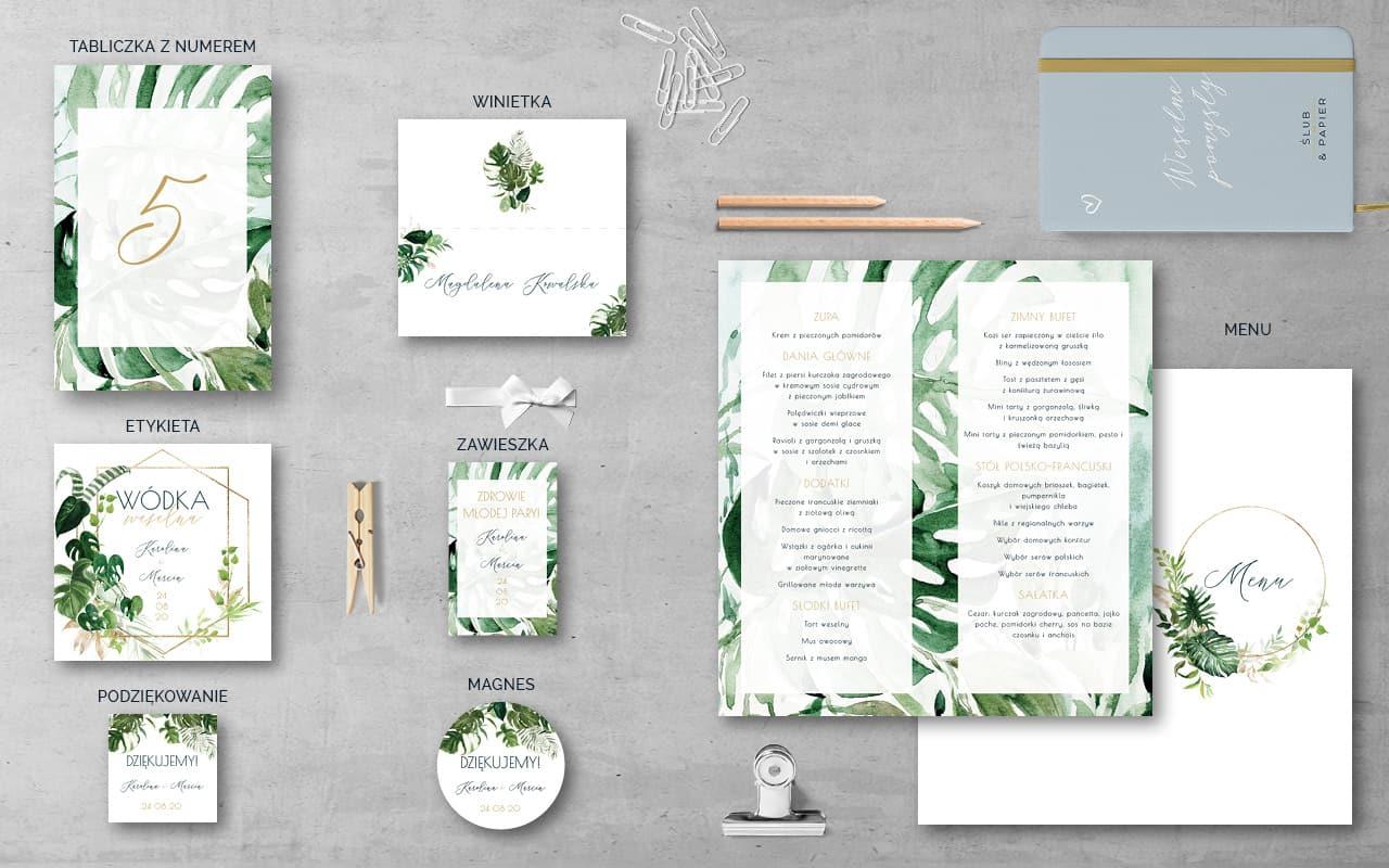 Dodatki weselne do zaproszenia ślubnego Akwarelowe liście