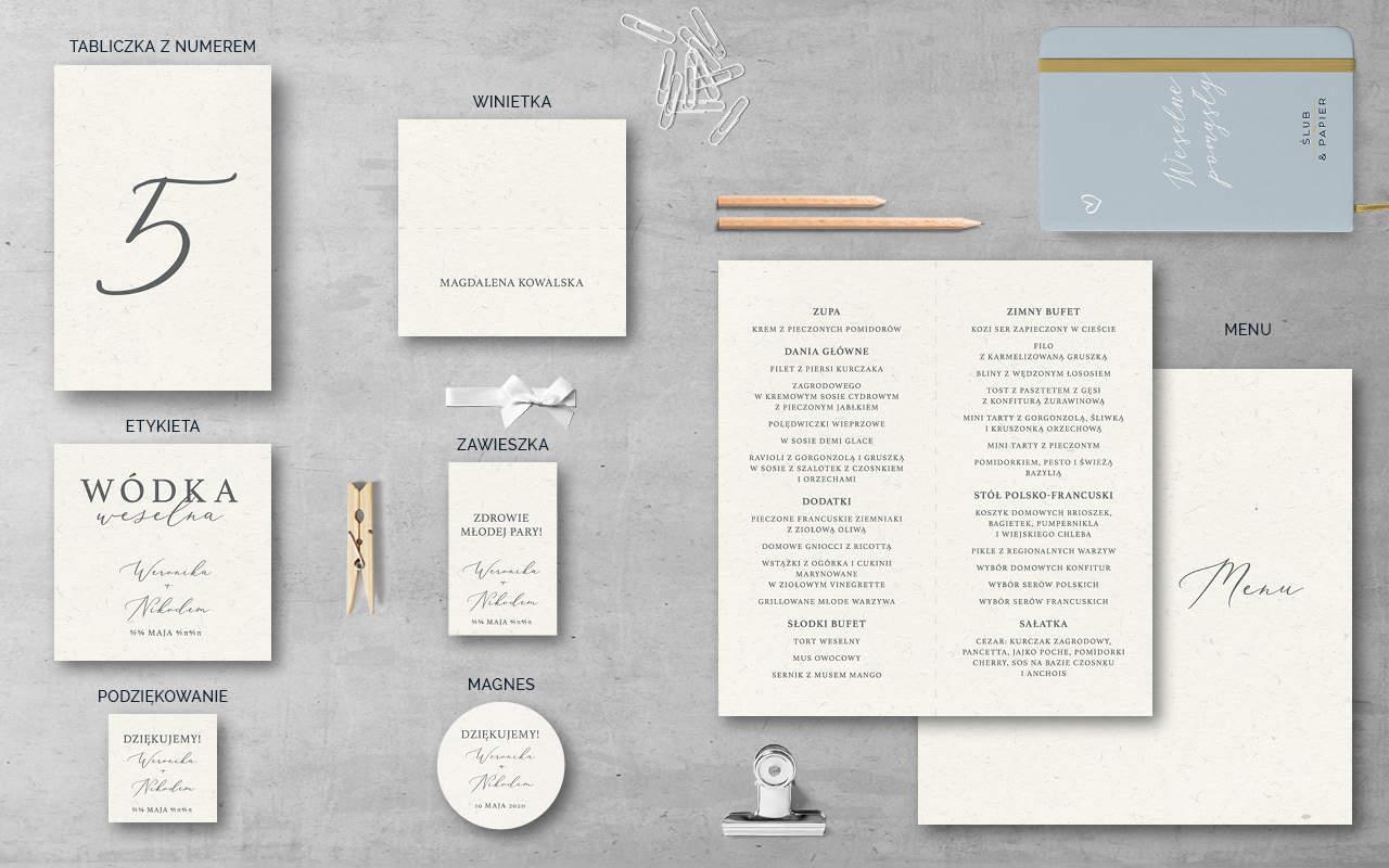 Dodatki weselne do projektu Minimalistyczne